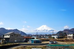 Mt. Fuji is the largest mountain in Japan, visible from a distance. stock image