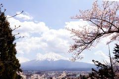 Mt Fuji med den körsbärsröda blomningen sakura i vårsäsong på himlen b arkivbild