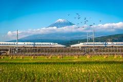 Mt Fuji med det Shinkansen drevet och risfältet på Shizuoka, Japan arkivfoto