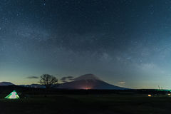 Mt. Fuji with Milky Way Galaxy Stock Photos