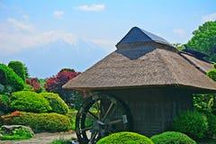 Mt. Fuji and a mill, Oshino, Japan Royalty Free Stock Photos
