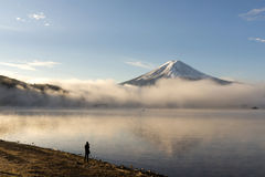 Mt.Fuji with misty in the morning at Lake Kawakuchi. Yamanashi,Japan Stock Photos