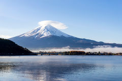 Mt.Fuji with misty in the morning at Lake Kawakuchi. Yamanashi,Japan Royalty Free Stock Photography