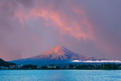 Mt Fuji Morning Sunrise Sky Kawaguchi Lake Hotels Stock Images