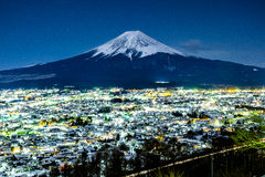 Mt. Fuji at night in Fujiyoshida, Japan.  Royalty Free Stock Image