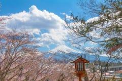 Mt fuji och körsbärsröd blomning sakura i vårsäsong med blått arkivfoton