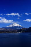 Mt. Fuji over Lake Motosu. This photo is taken in the early spring Stock Image