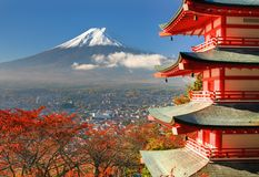 Mt. Fuji and Pagoda. Mt. Fuji viewed from behind Chureito Pagoda royalty free stock photography