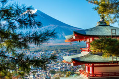 Mt.Fuji and Pagoda Royalty Free Stock Photo