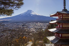 Mt. Fuji with Pagoda in Japan Stock Photo