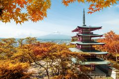 Mt. Fuji and red pagoda with autumn colors in  Japan,  Japan aut Stock Image