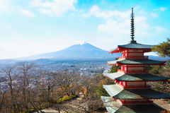 Mt. Fuji with red pagoda Royalty Free Stock Photo