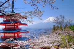 Mt. Fuji with red pagoda in autumn, Fujiyoshida, Japan. With sakura Royalty Free Stock Photos
