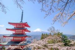 Mt. Fuji with red pagoda in autumn, Fujiyoshida, Japan. With sakura Stock Photo