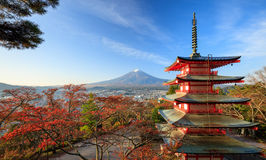 Mt. Fuji with red pagoda at sunrise, Japan Royalty Free Stock Image