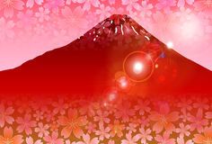 Mt Fuji red sunrise Royalty Free Stock Image