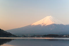 Mt  Fuji rises above Lake Kawaguchi Stock Photo