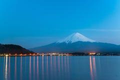 Mt Fuji rises above Lake Kawaguchi. Japan stock image