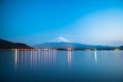 Mt Fuji rises above Lake Kawaguchi. Japan royalty free stock photography