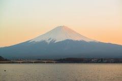 Mt Fuji rises above Lake Kawaguchi. Japan stock images