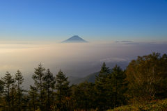 Mt.Fuji and Sea of clouds in the early morning Stock Images