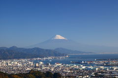 Mt. Fuji and Shimizu Port Stock Photo