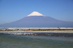 Mt. Fuji and Shinkansen royalty free stock image