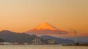 Mt. Fuji from Shizuoka, Japan. Mt. Fuji on Dream Ferry Mini Cruise traveling from Hamanako Lake, Shizuoka, Japan with sunset sky, seagull bird flying and royalty free stock photos