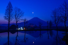 Mt.Fuji and a small pond at dawn Stock Photography