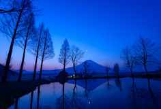 Mt.Fuji and a small pond at dawn Royalty Free Stock Photo