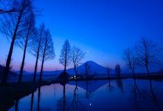 Mt.Fuji and a small pond at dawn Royalty Free Stock Photo