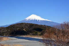 Mt.Fuji with snow. It is Mt. Fuji which I took in February at Tomei Expressway Fujikawa Service Area Fuji City, Shizuoka Prefecture Royalty Free Stock Images