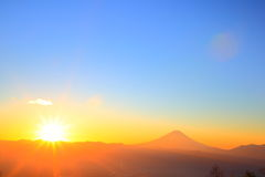 Mt. Fuji with sunrise Royalty Free Stock Photography