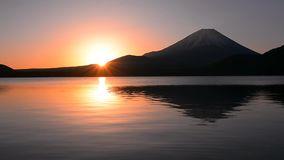 Mt.Fuji and Sunrise from Lake Motosu Japan wide angle