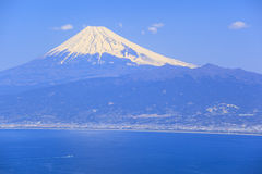 Mt. Fuji and Suruga bay. From Darumayama plateau, Izu Peninsula, Japan royalty free stock photography