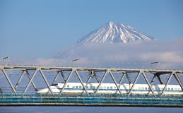 Mt  Fuji and Tokaido Shinkansen Royalty Free Stock Photo
