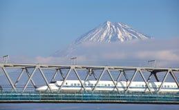 Mt Fuji and Tokaido Shinkansen royalty free stock photo