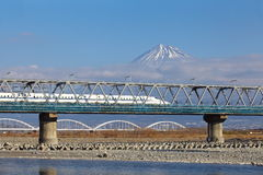 Mt  Fuji and Tokaido Shinkansen Royalty Free Stock Photography