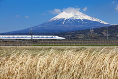 Mt Fuji and Tokaido Shinkansen Stock Photo