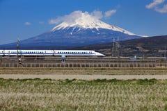 Mt Fuji and Tokaido Shinkansen royalty free stock photos