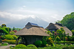 Mt. Fuji with traditional houses, Oshino, Japan Stock Photo