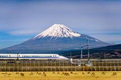 Mt. Fuji and Train stock photo