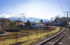 MT Fuji van Fujiyoshida-Stad dichtbij kawaguchikomeer Royalty-vrije Stock Foto's