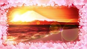 MT Fuji van meer MT van Fuji Plum Blossom Traditioneel landschap CG-Lijnanimatie royalty-vrije illustratie