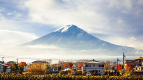 Mt. Fuji view from kawaguchi-ko lake village in autumn season, J Royalty Free Stock Images