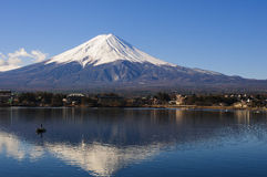 Mt Fuji view from the lake with a boat and reflection Stock Images