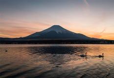 Mt. Fuji. View of Mount Fuji and Lake Yamanakako in winter evening. Lake Yamanakako is the largest of the Fuji Five Lakes stock photo