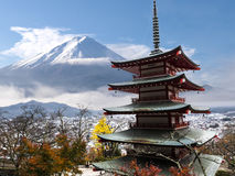 Mt. Fuji view from red pagoda - Japan Royalty Free Stock Photos