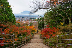 Mt. Fuji view from Stairway of Chureito Pagoda Royalty Free Stock Images