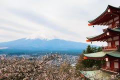 Mt  Fuji viewed from behind Chureito Pagoda Stock Image